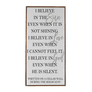 """I Believe In The Sun"" Vertical Wood Sign - PW023 - Driftless Studios"