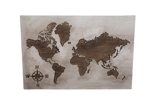 World Map Carved Sign - Driftless Studios