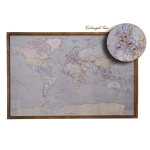 36x24 - Colored Antique World Map Push Pin - Travel Map - UM006 - Driftless Studios