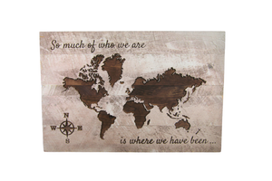 """So Much Of Who"" Carved World Map Sign - Driftless Studios"