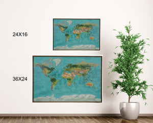 24x16 - Geographical Teal Natural Earth World Map - Travel Map - SM002 - Driftless Studios