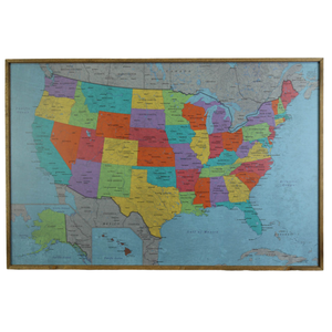 24x16 - Political School House USA Map - US Travel Map - SM009 - Driftless Studios