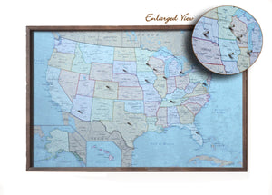 24x16 - Political Antique Color USA Map - US Travel Map - SM011 - Driftless Studios