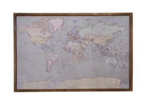 24x16 - Colored Antique World Map Magnetic Pin - Travel Map - SM006 - Driftless Studios