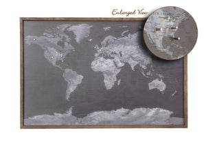 24x16 - Geographical Black and White World Map Magnetic Pin - Travel Map - SM003 - Driftless Studios