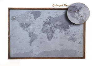 24x16 - Political Gray Scale World Map - Travel Map - SM004 - Driftless Studios