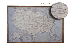 24x16 - Antique Tan USA Map - US Travel Map - SM010 - Driftless Studios