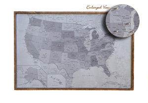 24x16 - Political Gray Scale USA Map - US Travel Map - SM008 - Driftless Studios