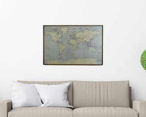 24x16 - Antique Tan World Map Magnetic Pin - Travel Map - SM005 - Driftless Studios