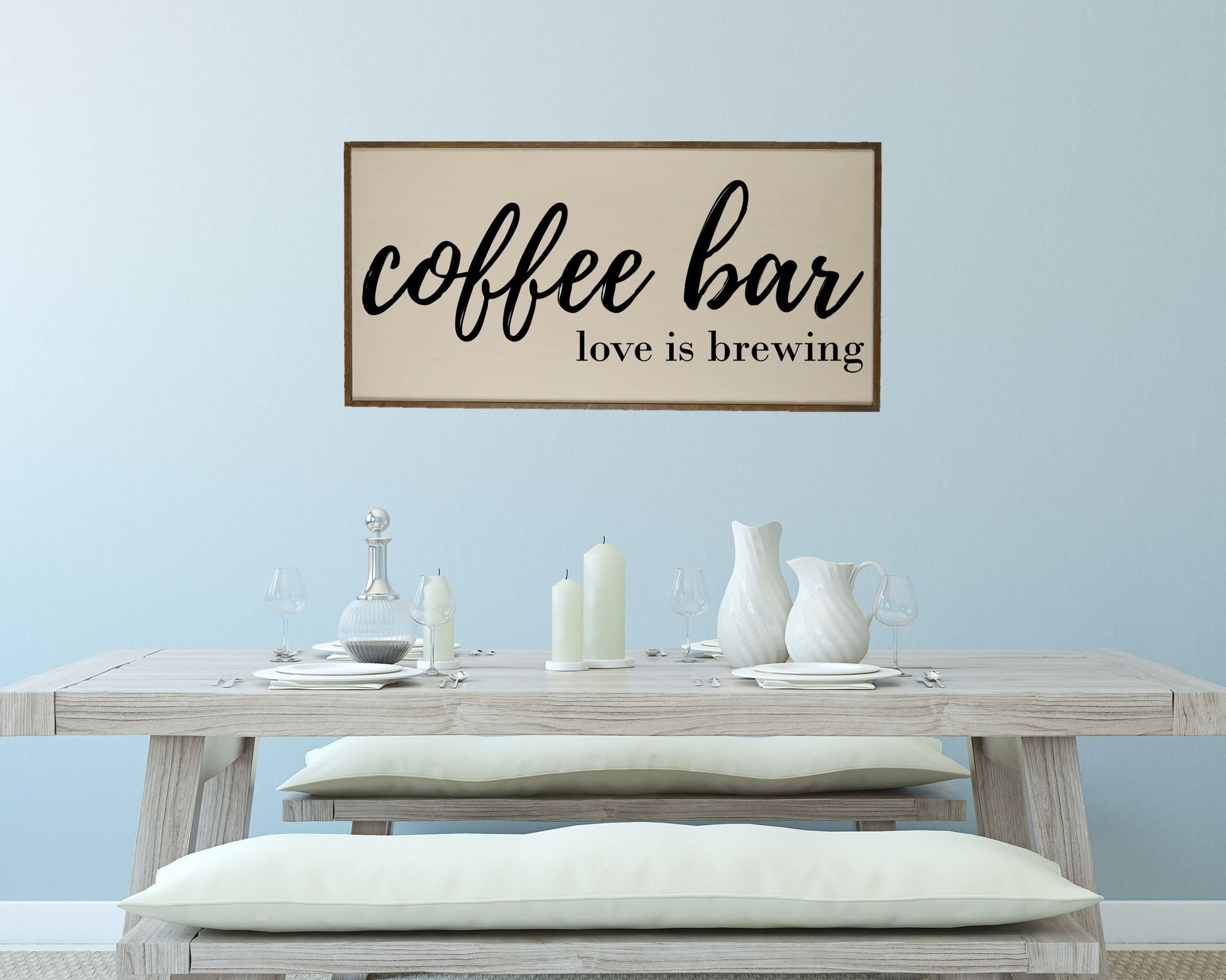 Coffee Bar Sign Coffee Sign Coffee Bar Love Is Brewing Large Wood Sign Kitchen Decor Kitchen Signs Handmade Signs Home Decor