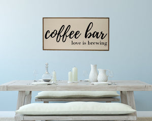 """Coffee Bar Love Is Brewing"" Wood Sign - PW006 - Driftless Studios"