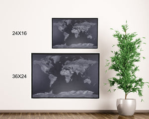 36x24 - Geographical Black and White World Map Push Pin - Travel Map - UM003 - Driftless Studios