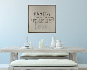 """Family Love"" 24x24 Wall Art Sign - MW002 - Driftless Studios"