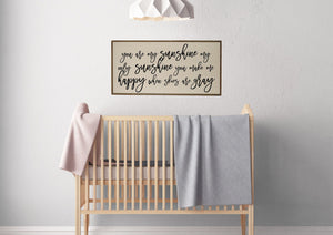 """You Are My Sunshine"" Horizontal Wood Sign - PW018 - Driftless Studios"