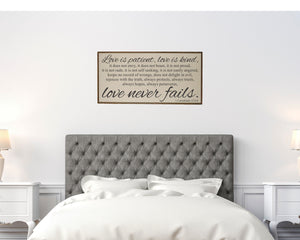 """Love Is Patient Love Is Kind"" Wood Sign - PW008 - Driftless Studios"