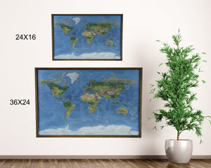 24x16 - Geographical Natural Earth World Map - Travel Map - SM001 - Driftless Studios