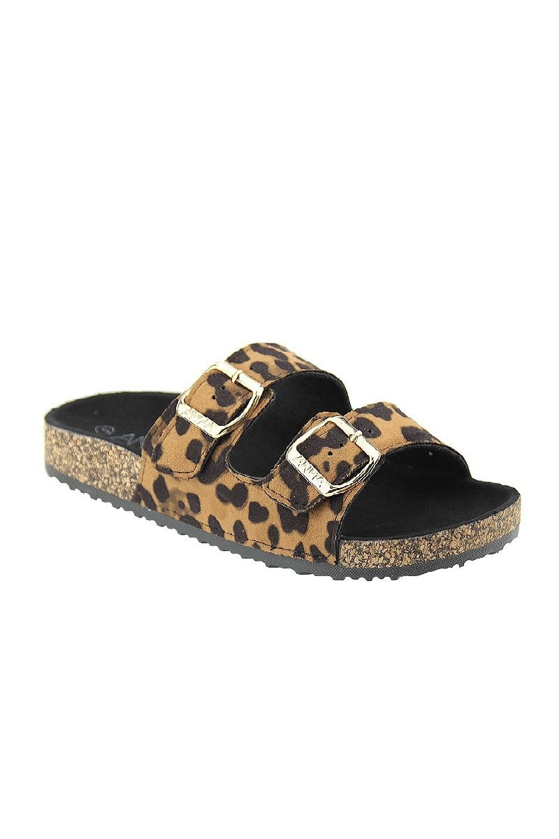 Becky Buckle Sandal-Animal Print