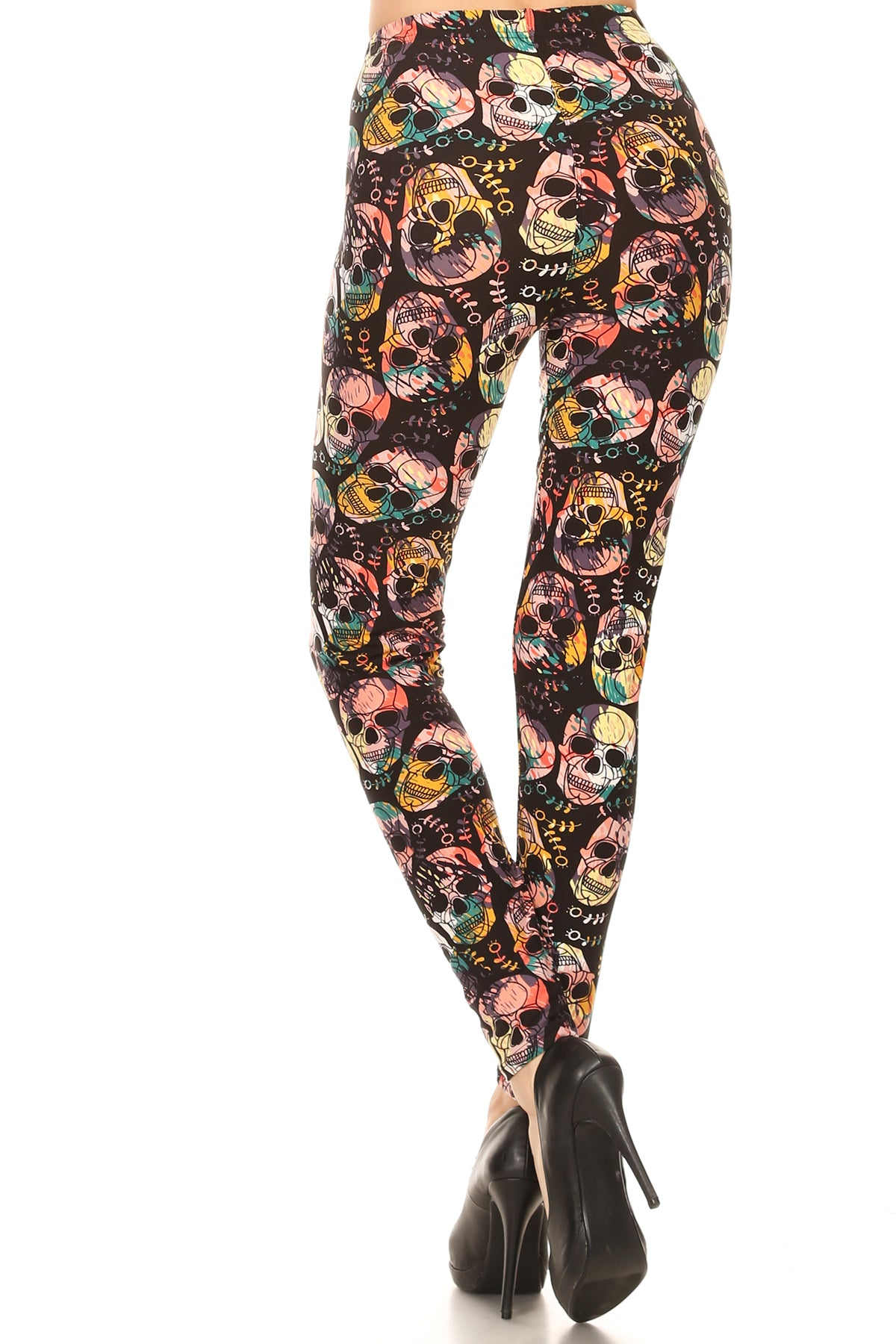 Skull & Flowers Leggings-One Size