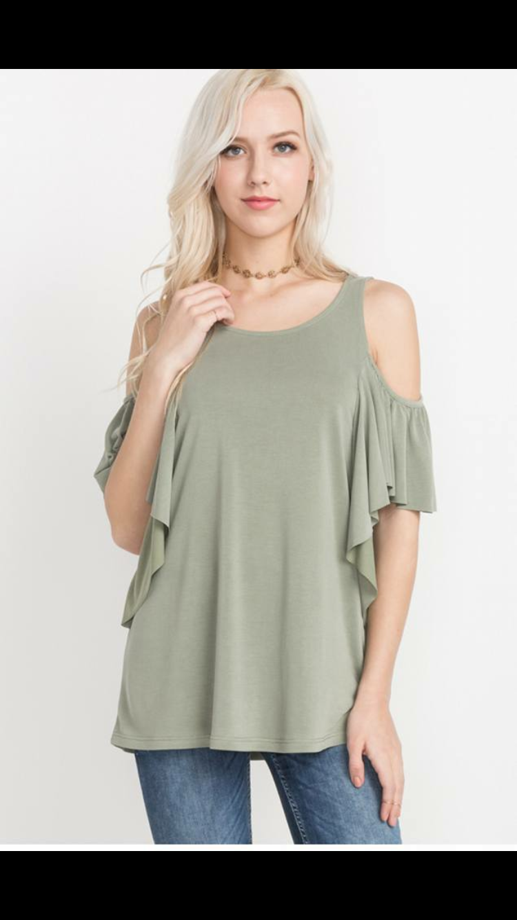Cold Shoulder Tunic-Dusty Sage