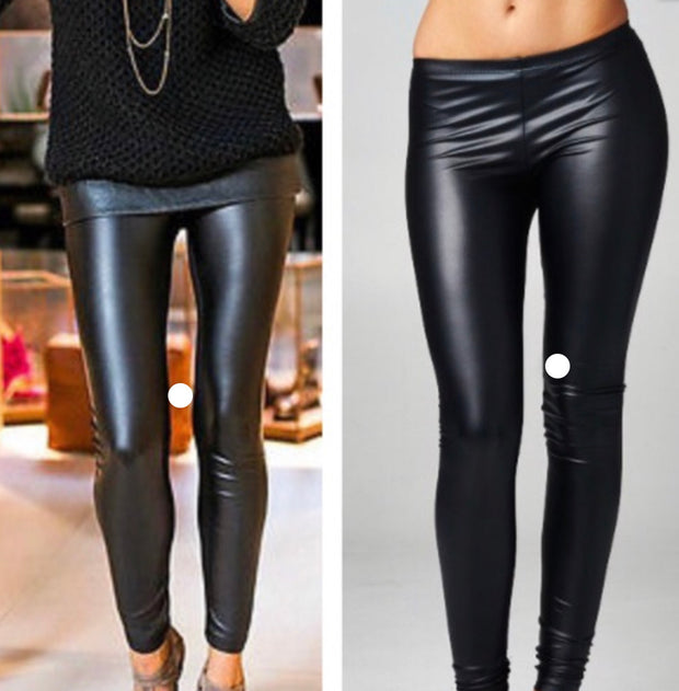 Faux Leather Leggings (Skinny waistband)