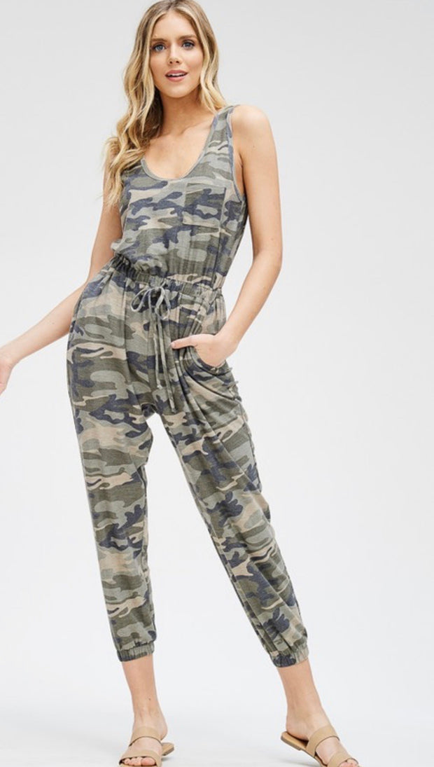 Camo French Terry Jumpsuit (drawstring style)