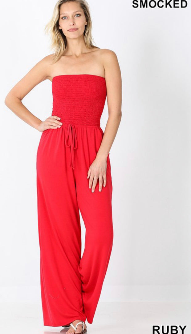 Sleeveless in Seattle Jumpsuit-Ruby Red