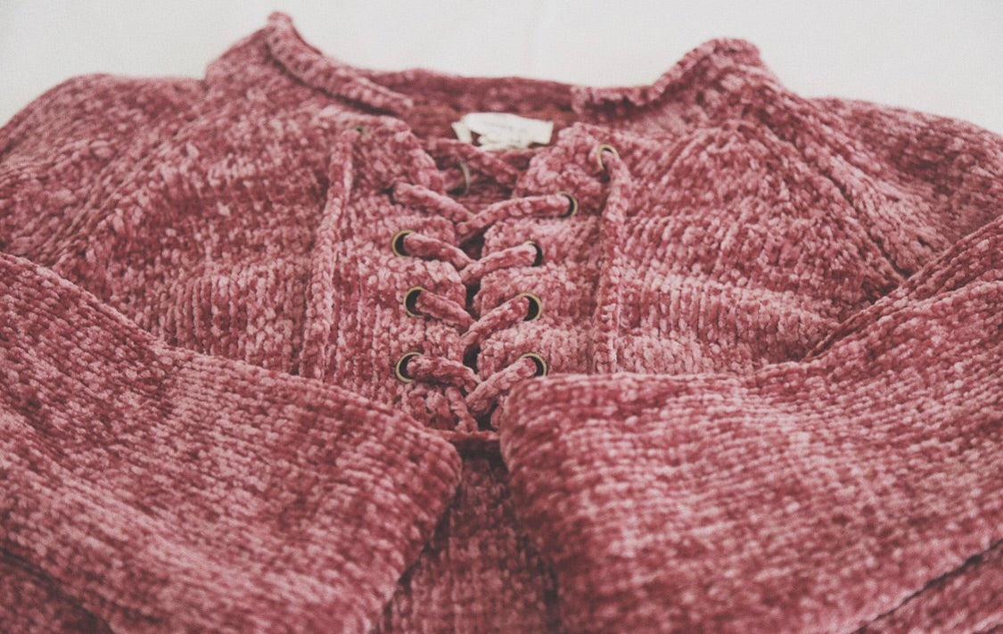 Dreamy Chenille Lace Up Sweater