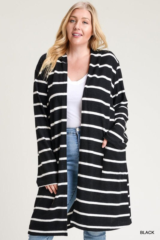 Main Street Hooded Cardigan-Plus Sizes