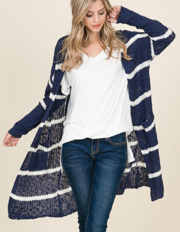 Pocket Stripe Cardigan-Regular & Plus Sizes