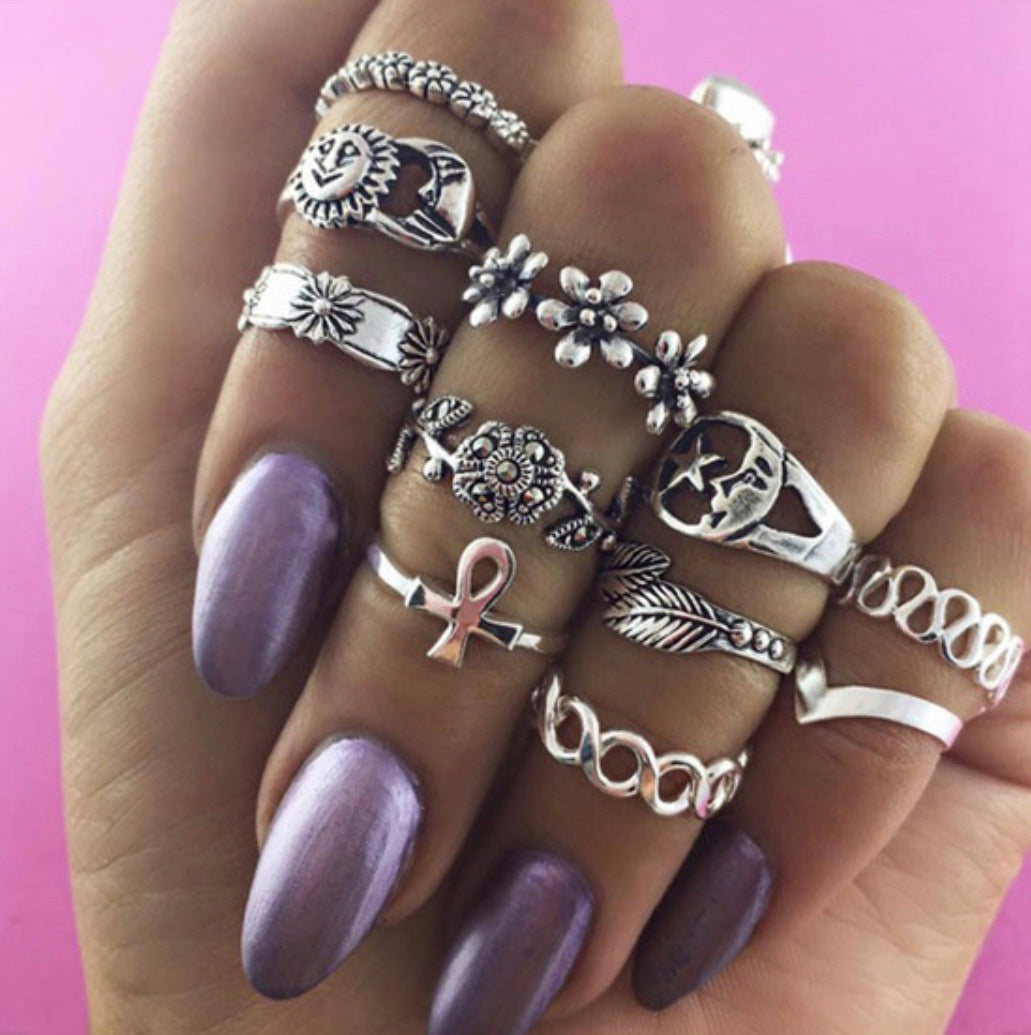 Boho Multi Knuckle Ring Set