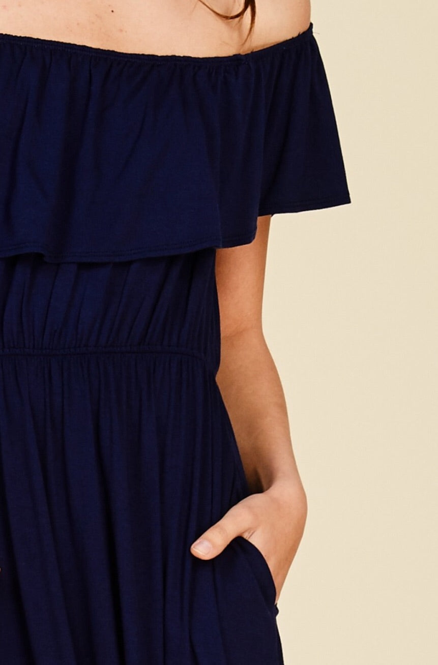Lillie OTS Ruffle Dress-Navy