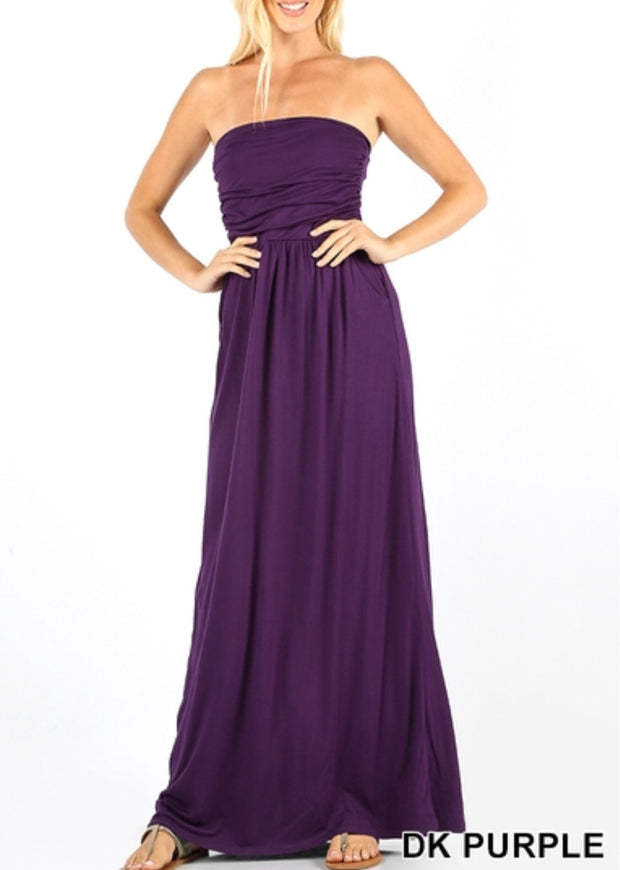 Amani Strapless Dress-Purple