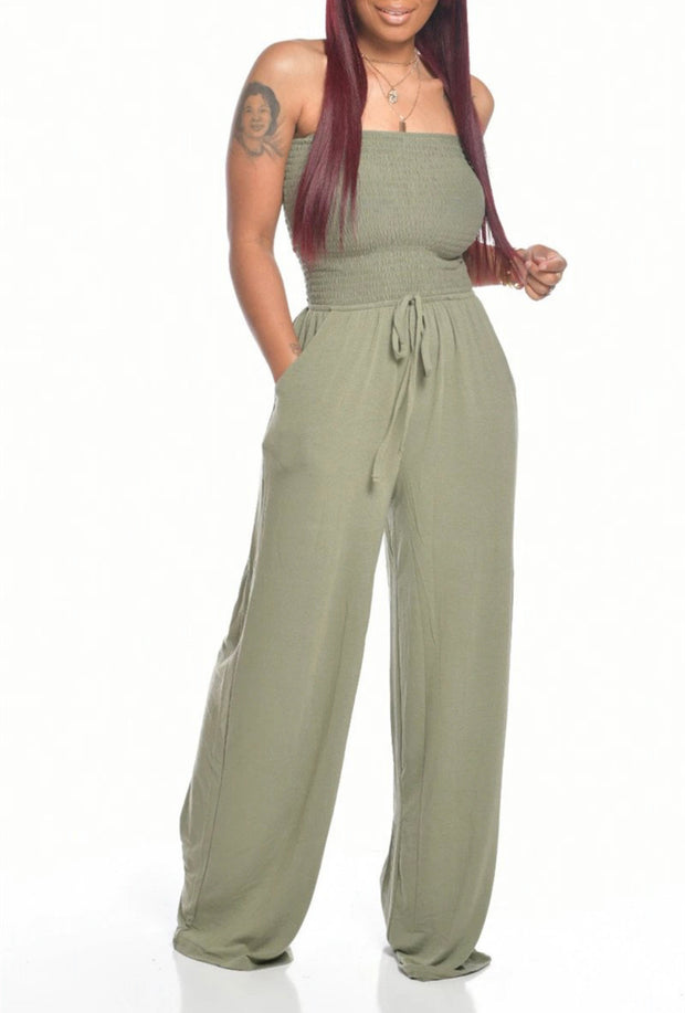 Sleeveless in Seattle Jumpsuit-Light Olive