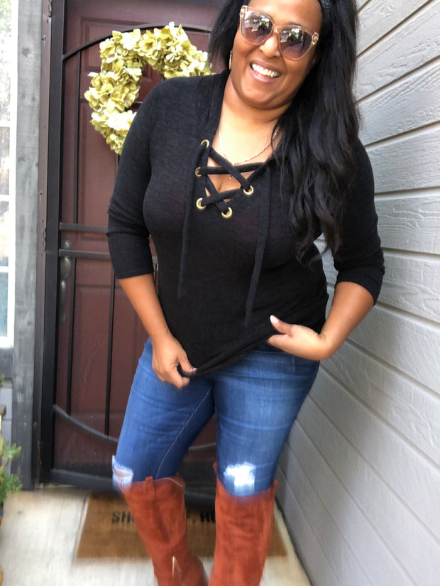 Taking a Break Lace Front Sweater Regular & Plus Sizes