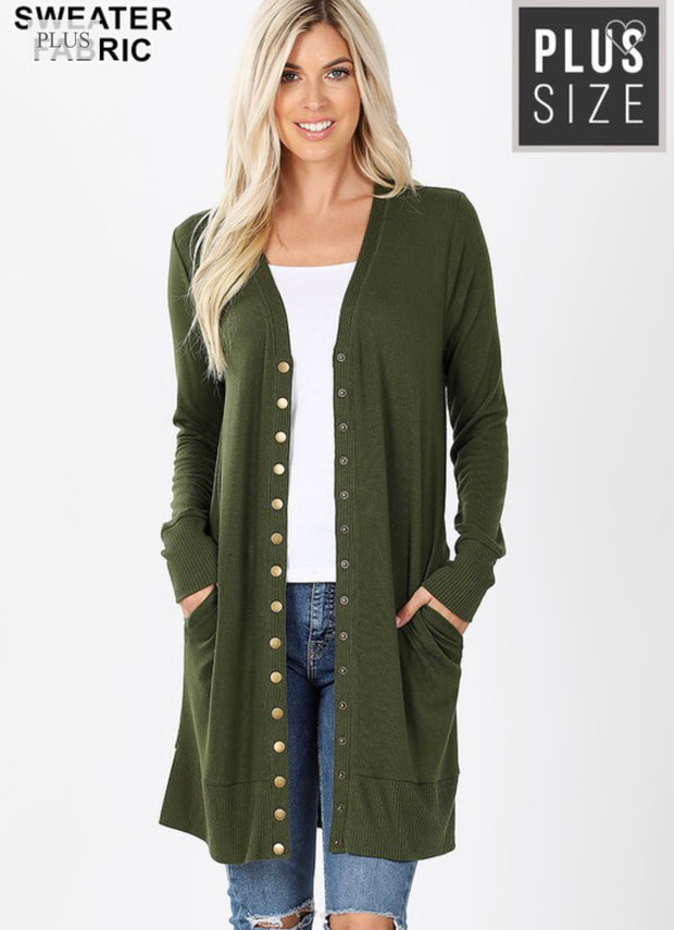 Pocket Snap Cardigan-Plus Sizes