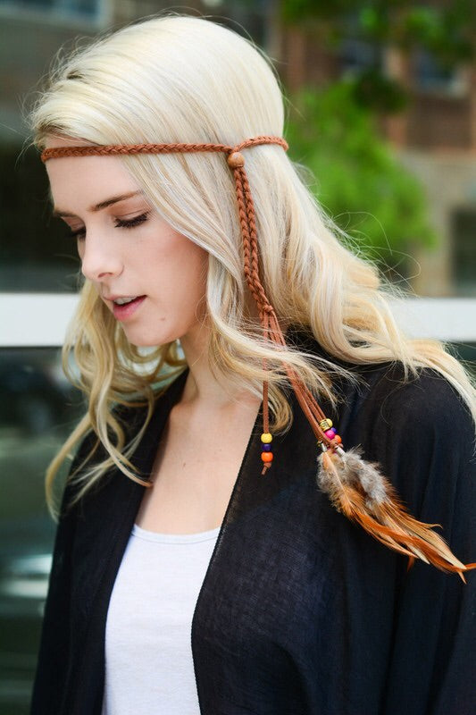 Feather boho headband