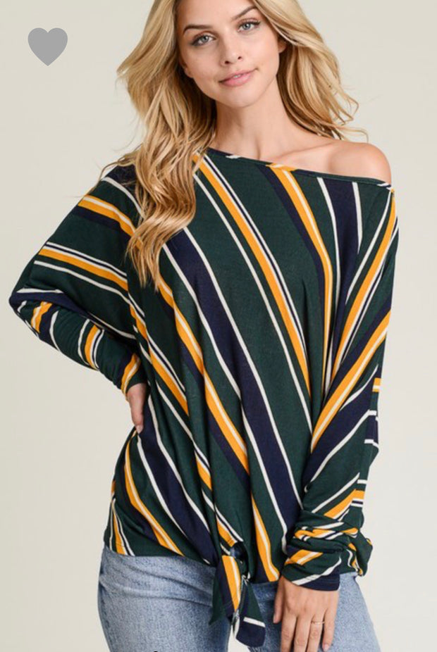Lucky Stripes off the shoulder Top