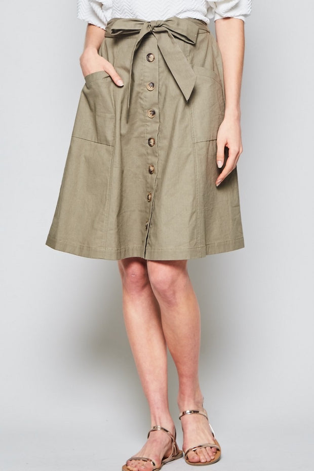 Sonia Button-Front Skirt