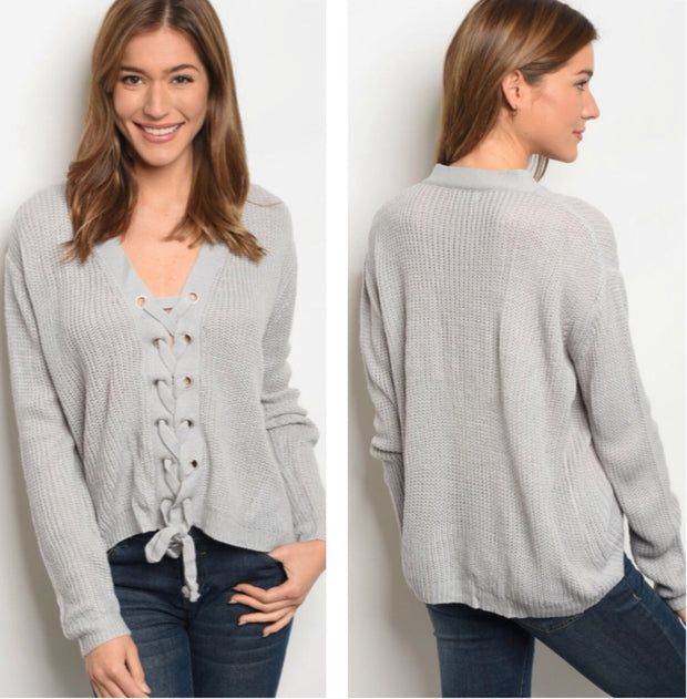 Emma Rose Lace Up Sweater