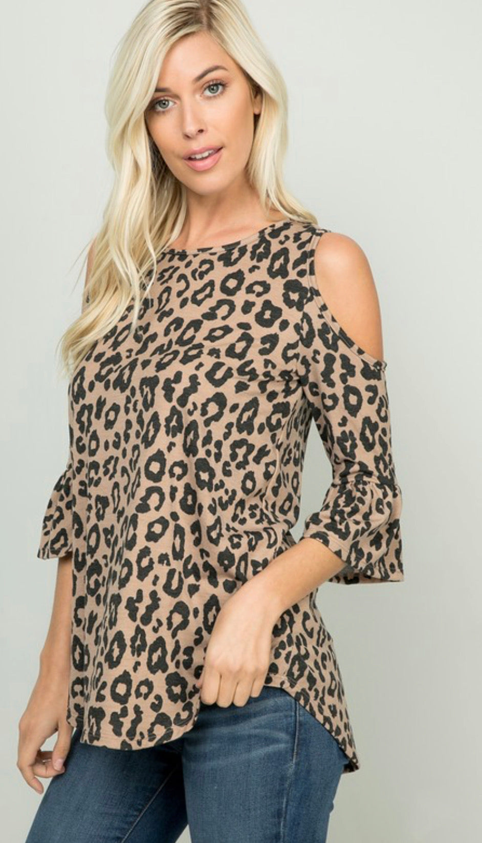 Leopard Cold-Shoulder Tunic Top