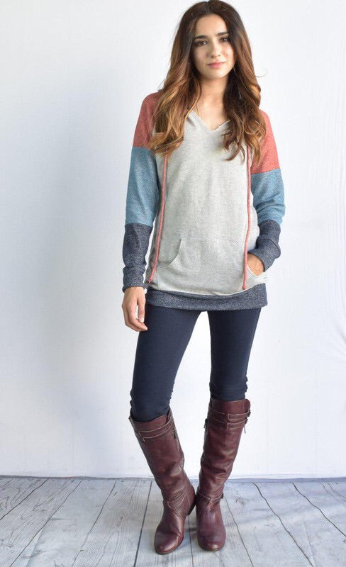 Carlie Colorblock Hoodie-Plus Sizes