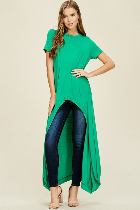 Anna hi-lo Tunic-Kelly Green