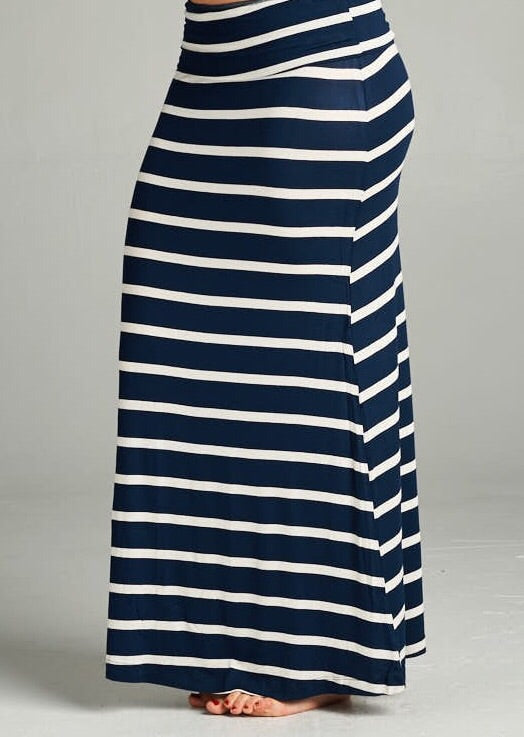 Navy Striped Maxi Skirt-Plus Size