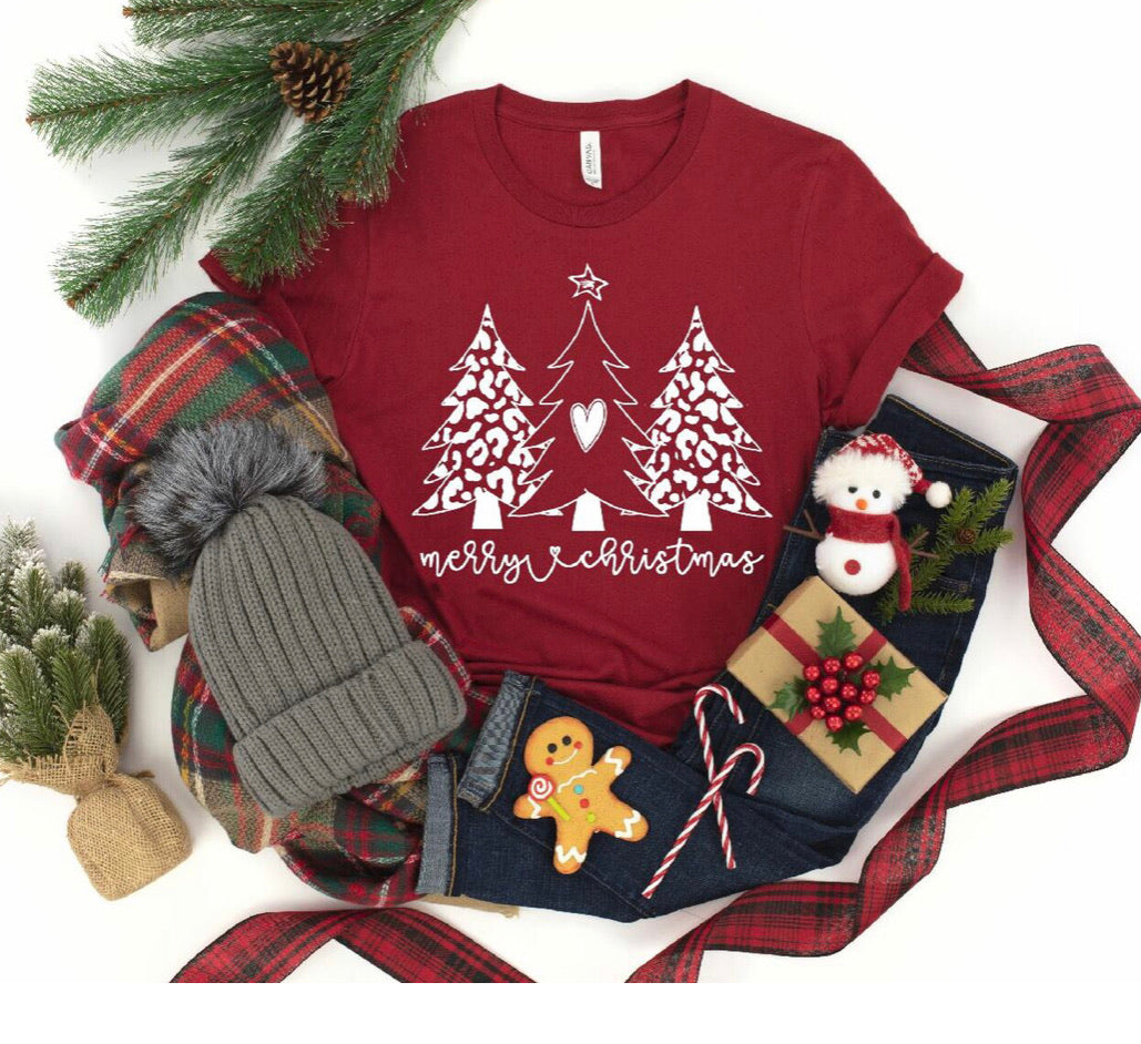 Merry Christmas Heart Tree Graphic Tee