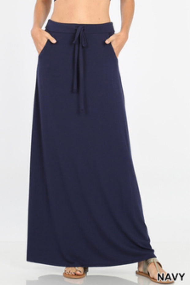 Navy Maxi Skirt-Plus Sizes