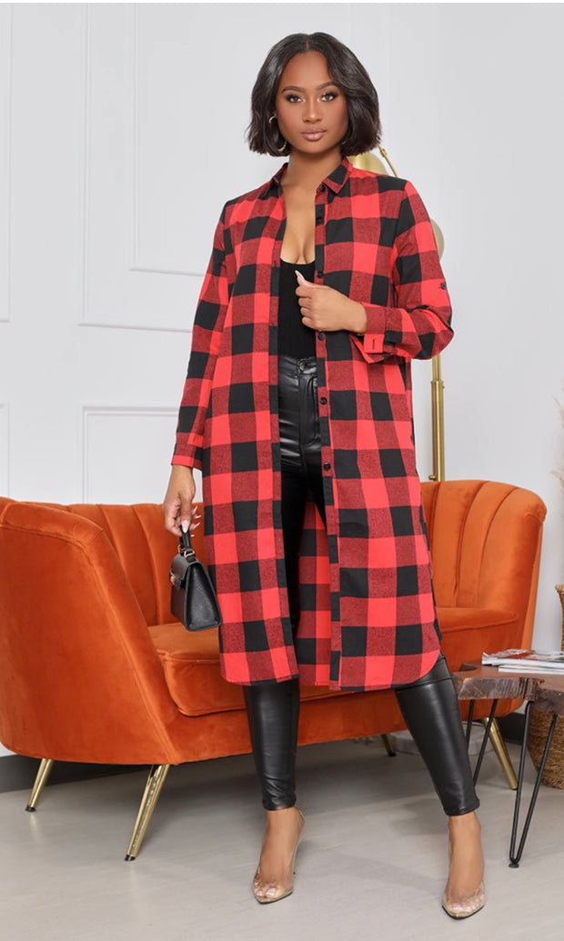 Buffalo Plaid Duster-Regular and Plus Sizes