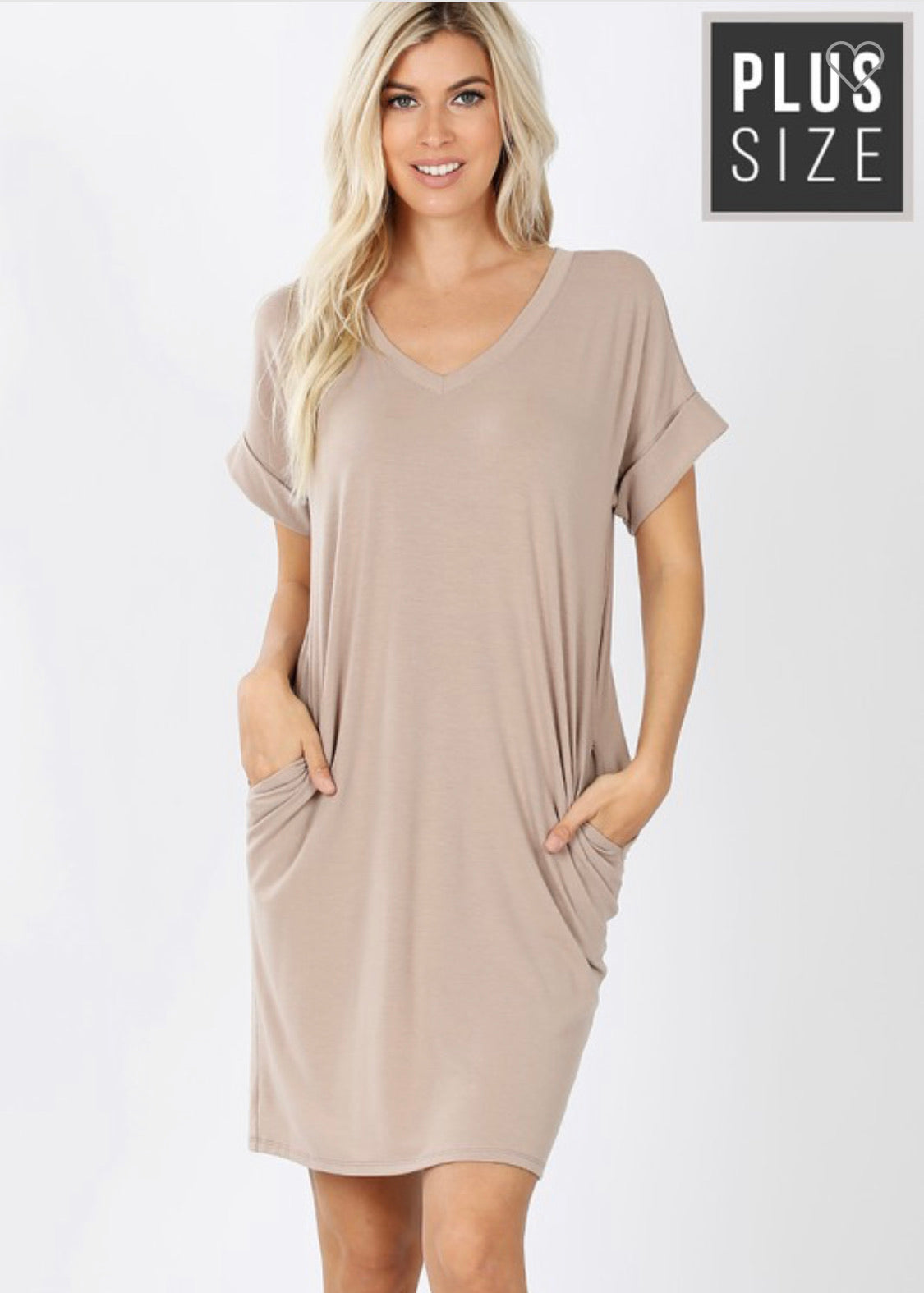 Vneck T-Shirt Dress Plus Sizes