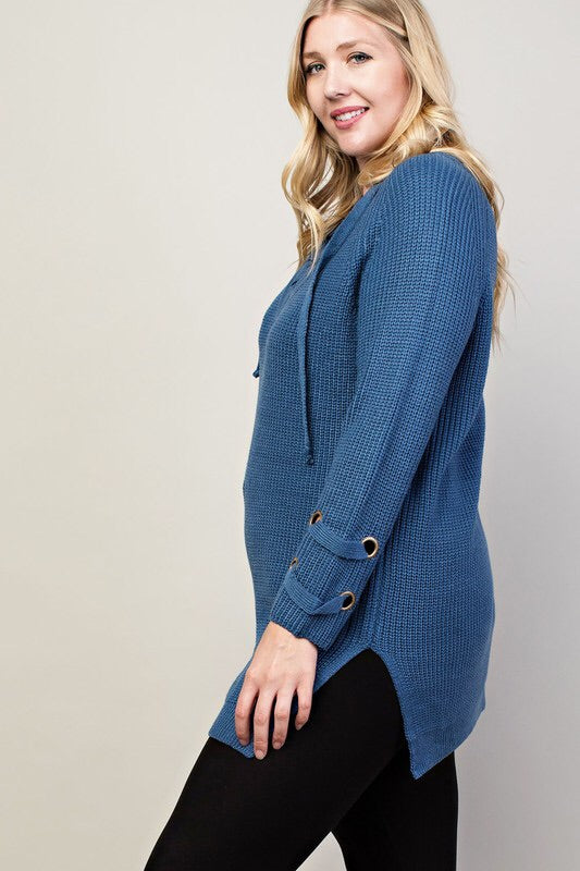 Mendocino Lace Up Sweater-Plus