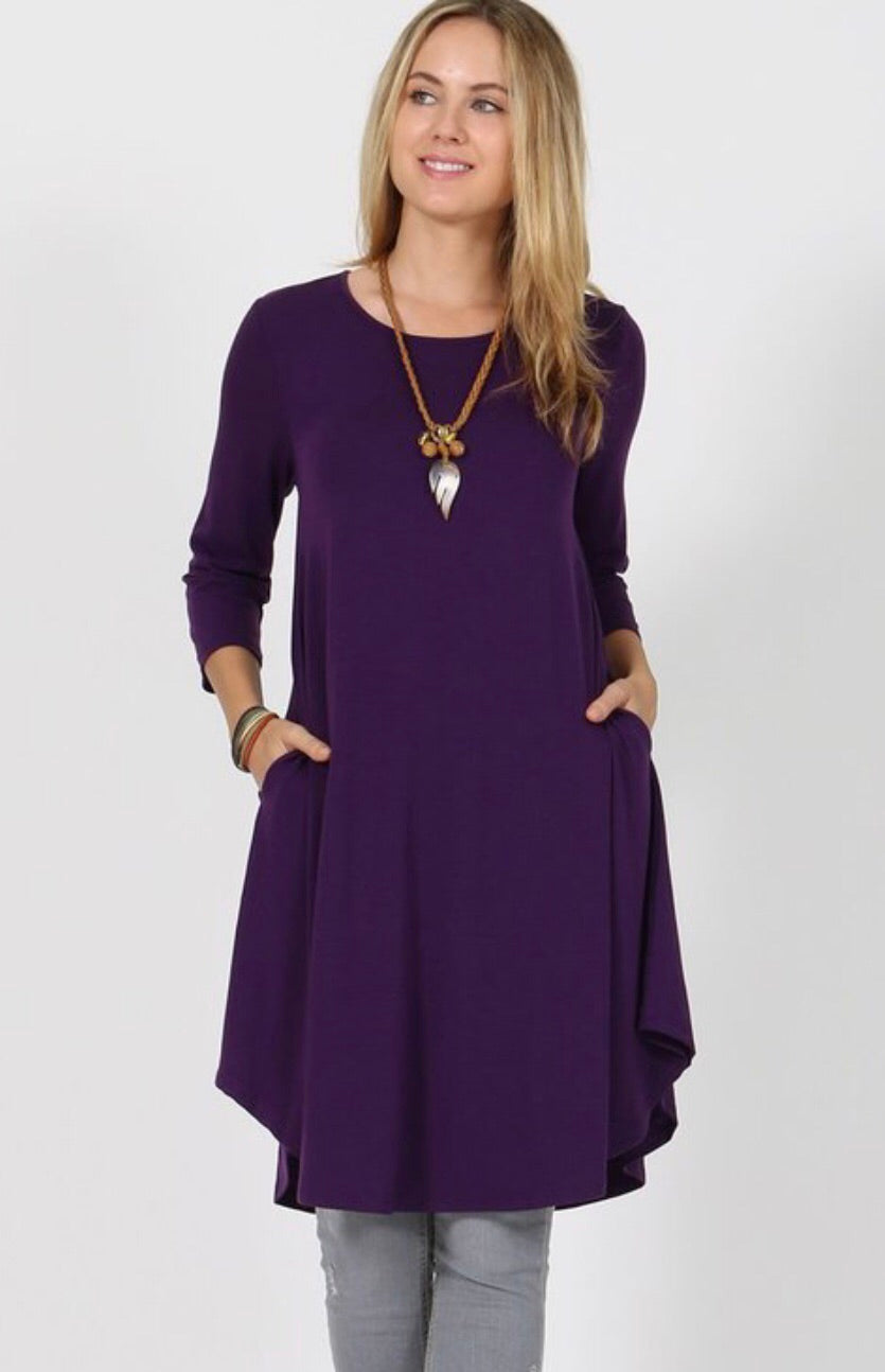 Basic Swing Dress-Plum Plus Sizes