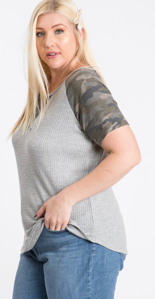 Short Sleeve Camo Top-Plus Sizes